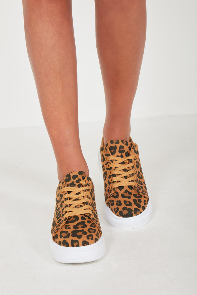Nisha Leopard Platform Lace Up Trainers