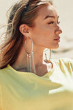 Silver Plated Chain Drop Hoop Earrings