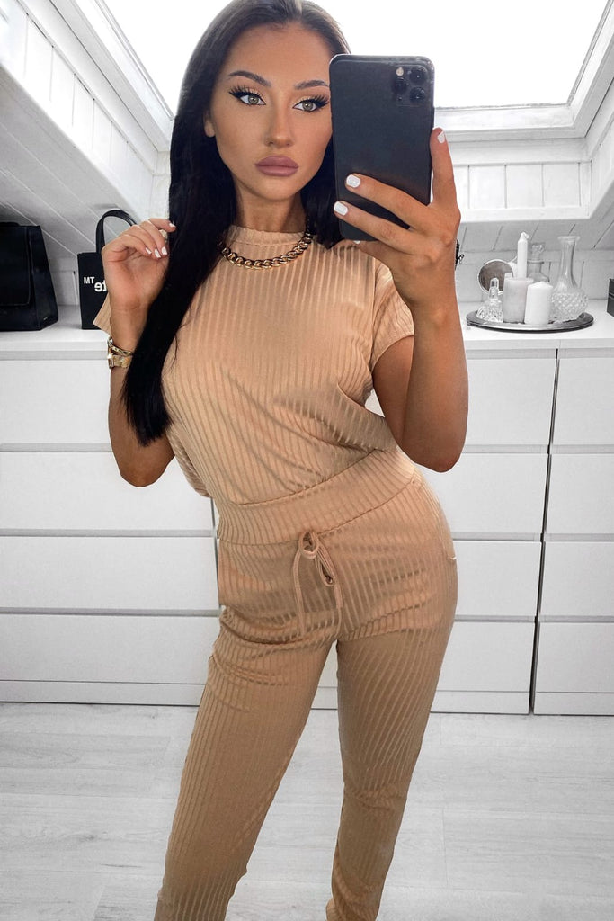 Doll Camel Ribbed Trouser Co-Ord