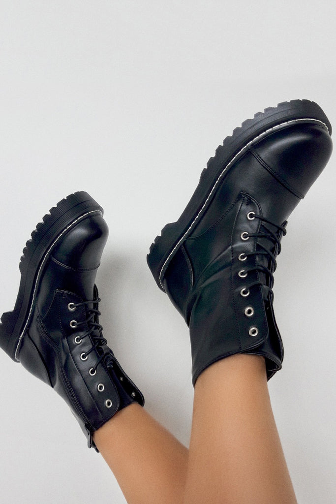 Nola Black Lace Up Platform Chunky Boots