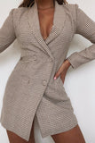 Bria Camel Houndstooth Blazer Dress