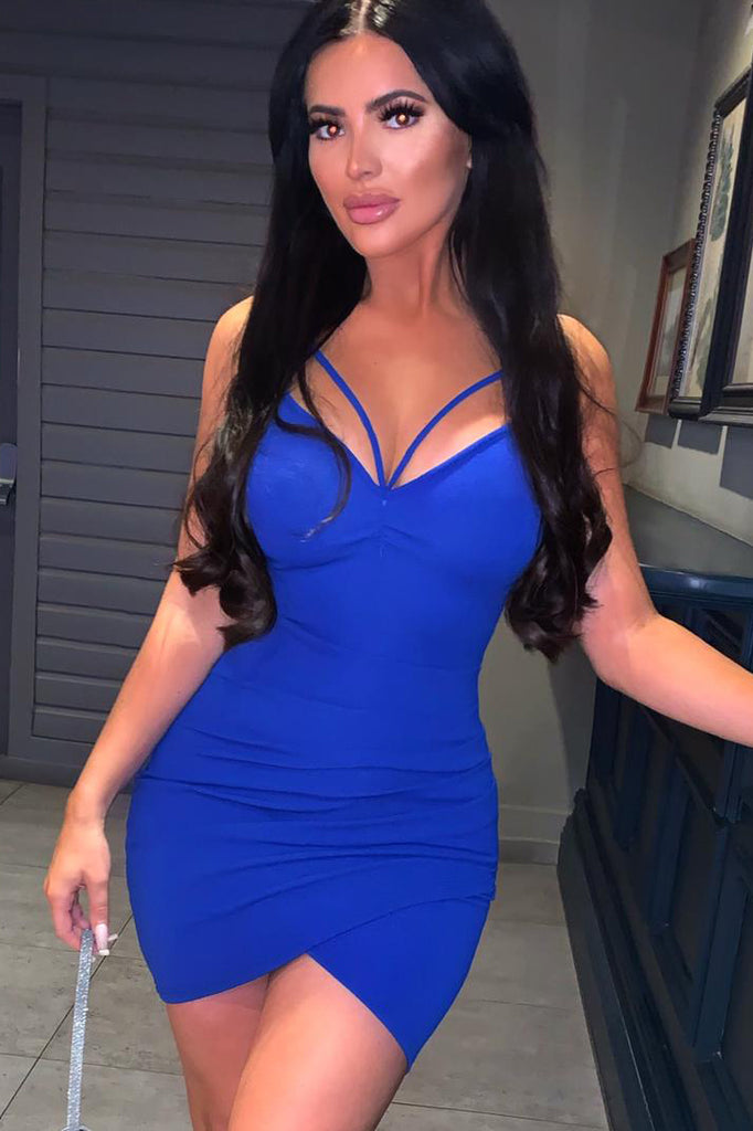 Sonny Blue Strappy Ruched Bodycon Dress (2032898965570)