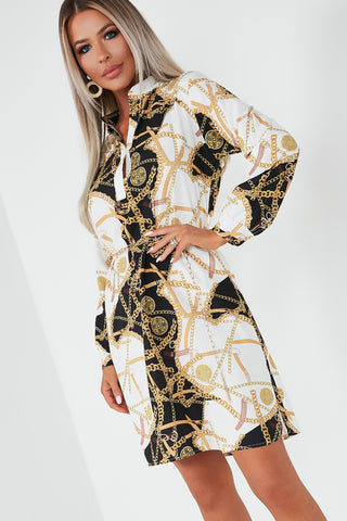 349832d99f18 Abagail Black And Gold Chain Print Shirt Dress | Vavavoom.ie