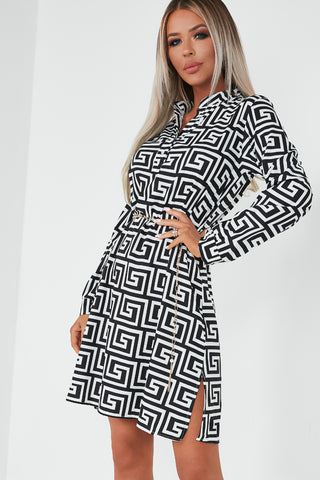 f007d3afc72bc Abagail Monochrome Aztec Shirt Dress