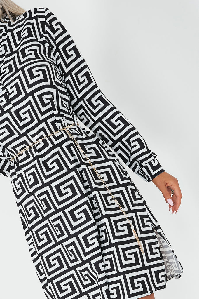 Abagail Monochrome Aztec Shirt Dress