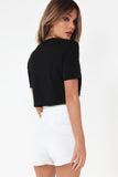 Abbie Black Graphic Crop T-Shirt