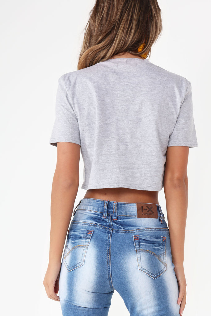 Abbie Grey Graphic Crop T-Shirt