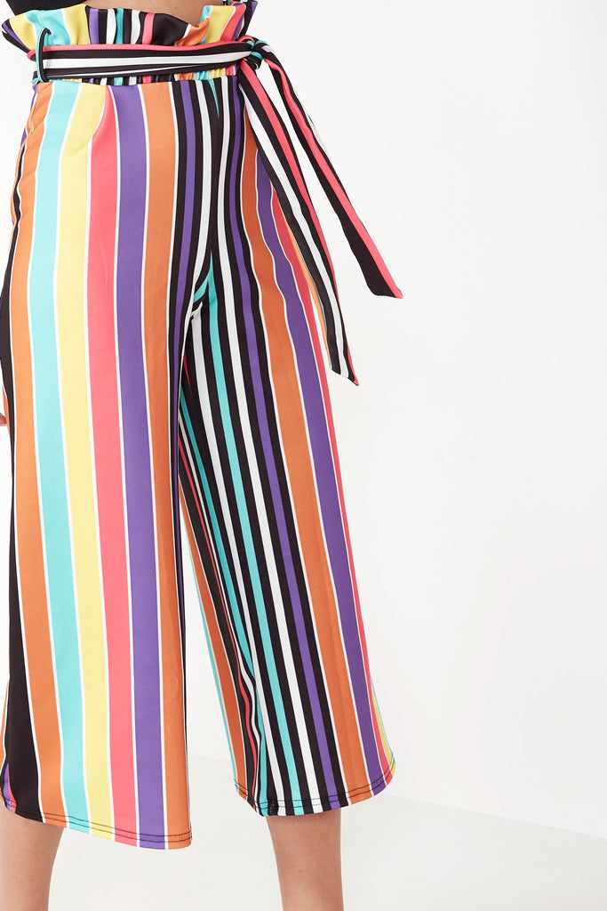 Abbot Multi Striped Paperbag Crop Trousers
