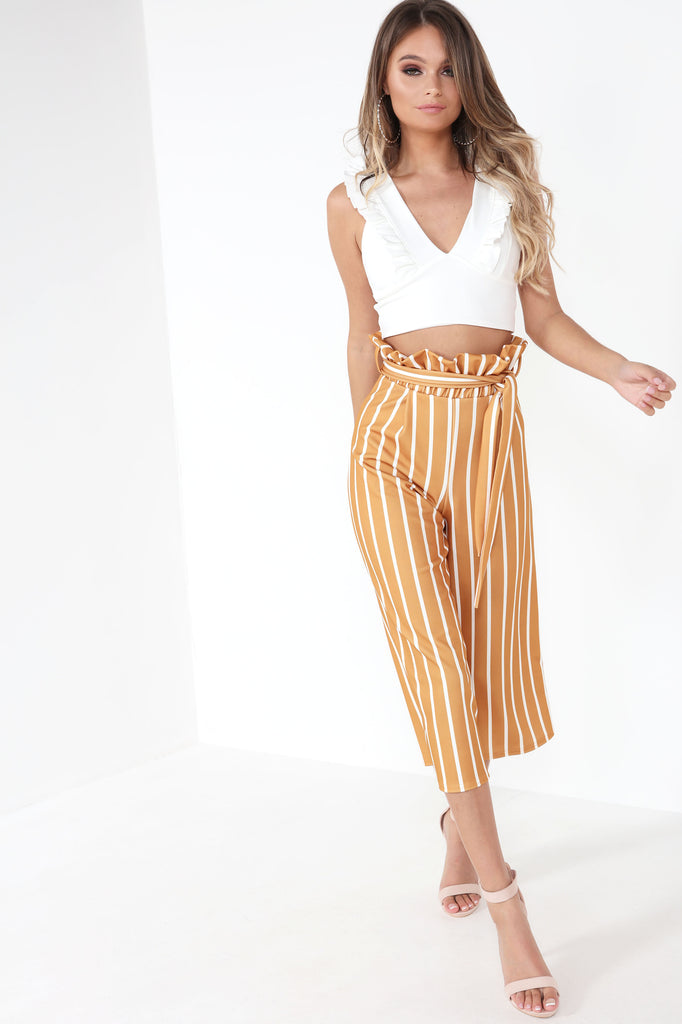 Abbot Mustard Striped Paperbag Crop Trousers