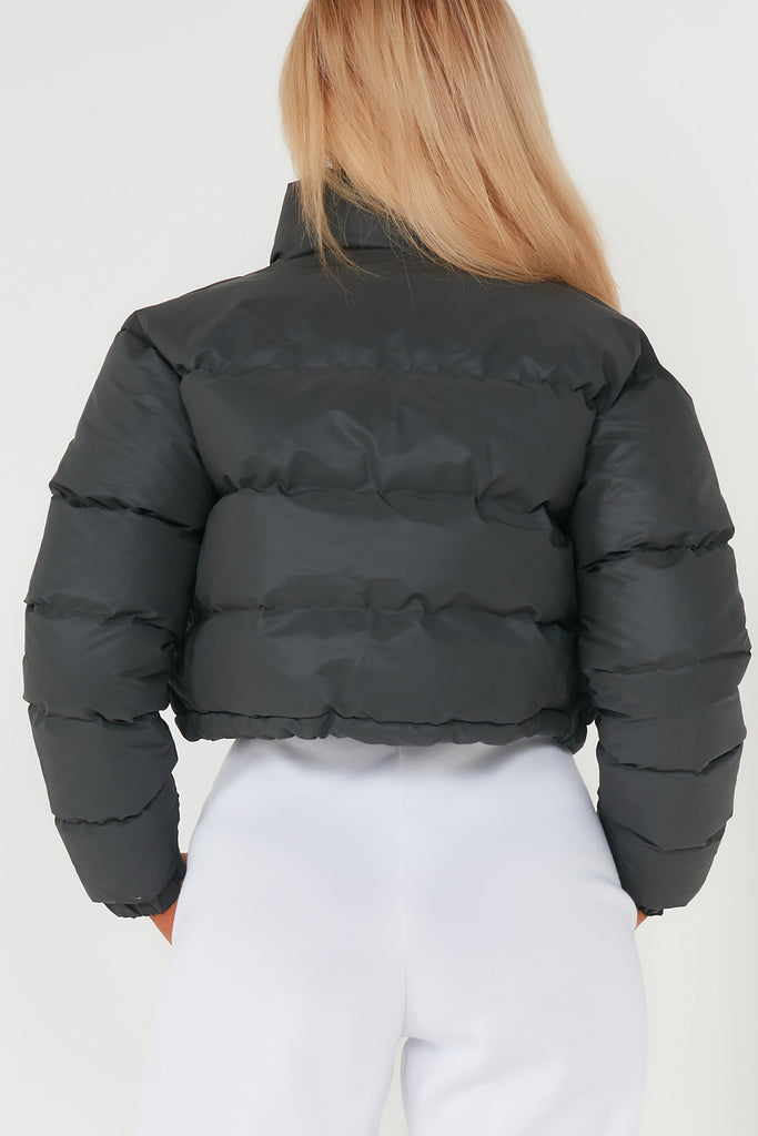 Abby Black Reflective Crop Jacket