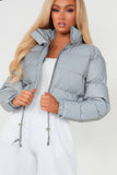 Abby Silver Reflective Crop Jacket