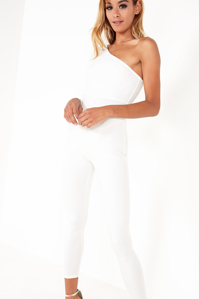 Abia White One Sleeve Jumpsuit