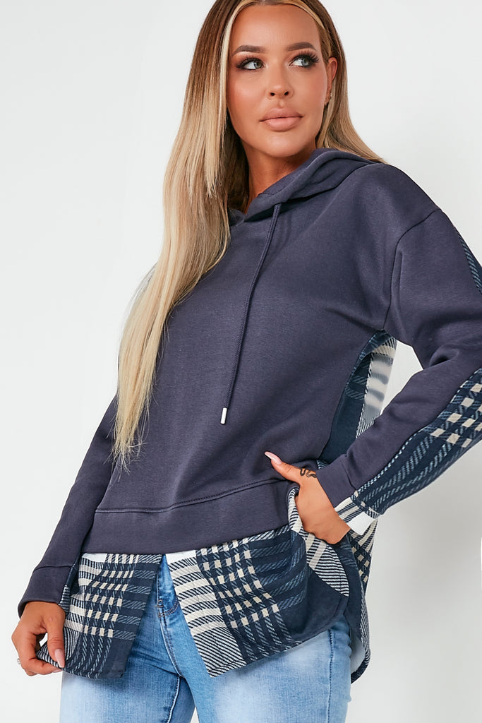 Abigail Navy Check Detail Hoodie