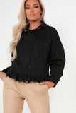 Abrielle Black Hooded Frill Hem Sweatshirt