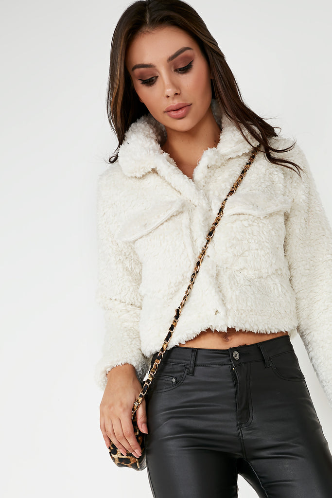 Abrielle Cream Teddy Crop Jacket