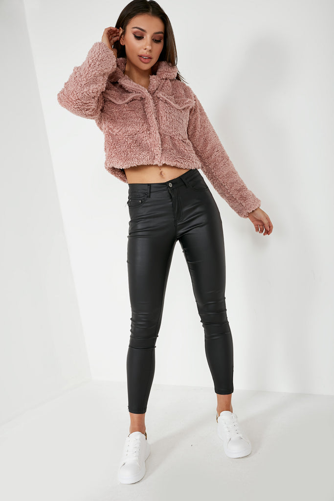 Abrielle Pink Teddy Crop Jacket