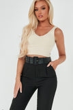 Ada Nude Ribbed V Neck Crop Top