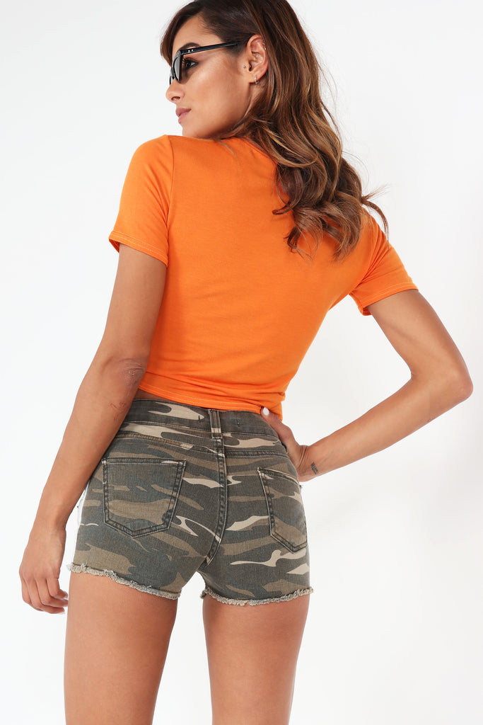 Ada Orange 'Vogue' Tie Crop T-Shirt