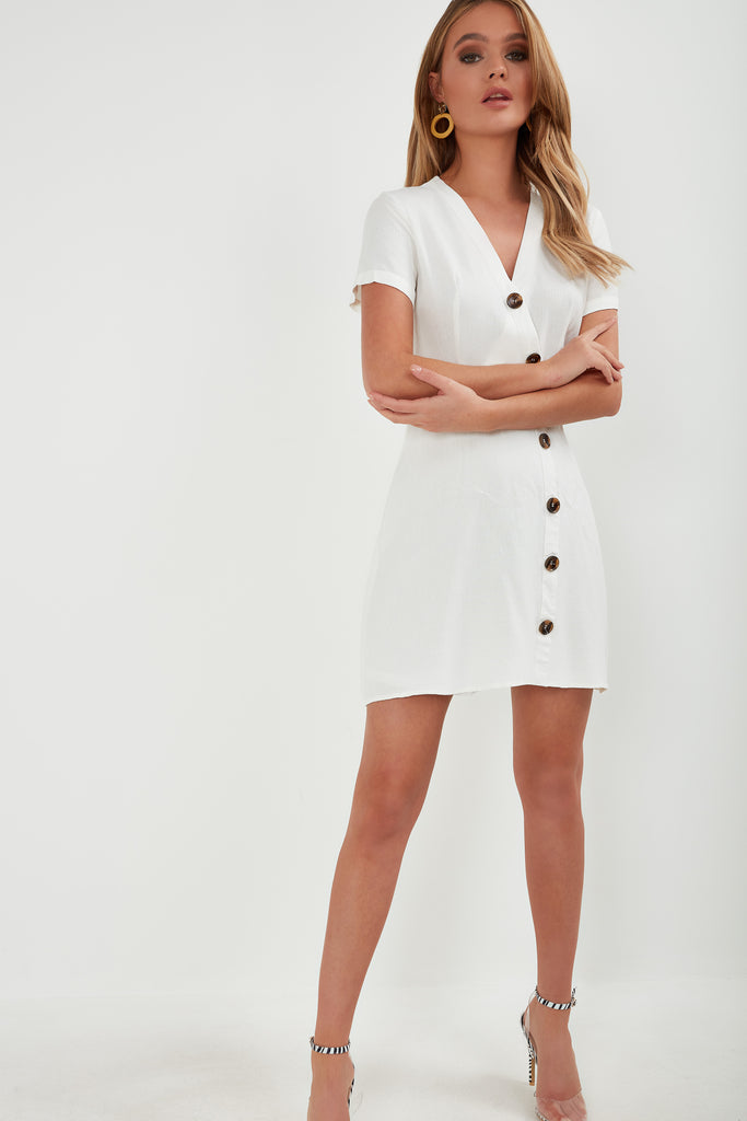 Addie White Button Front Mini Dress