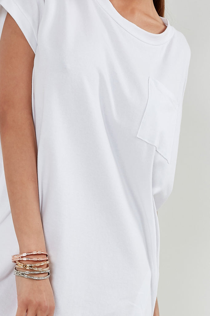 Adel White T-Shirt Dress