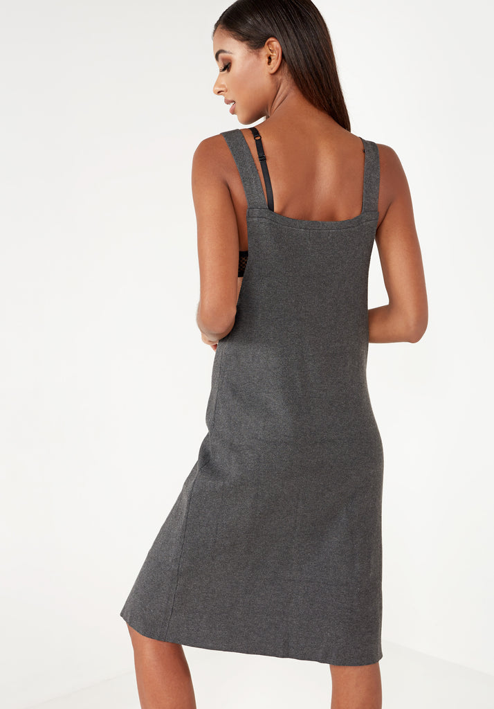 Adela Dark Grey Knit Pinafore dress