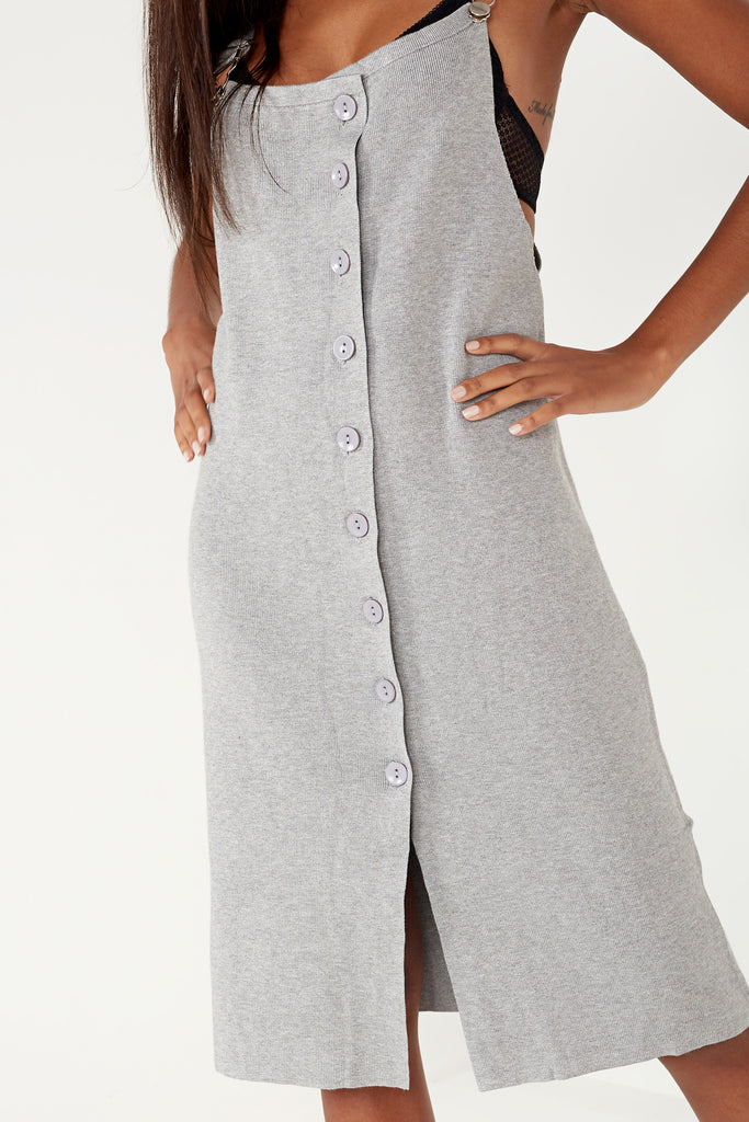 Adela Light Grey Knit Pinafore Dress