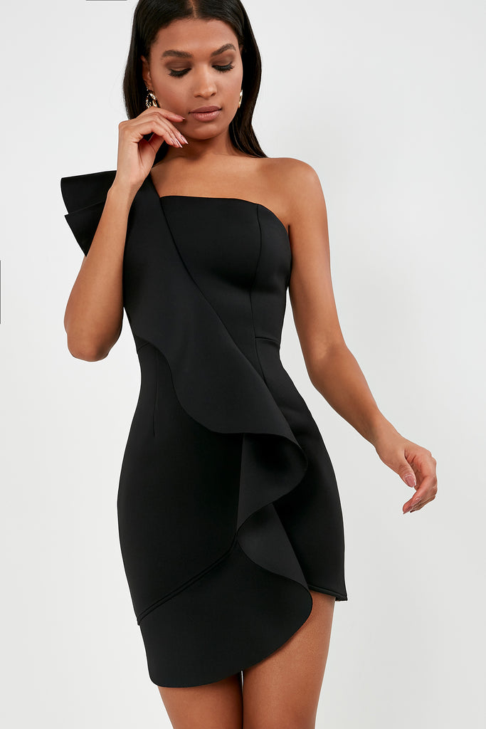 Adena Black One Shoulder Ruffle Dress