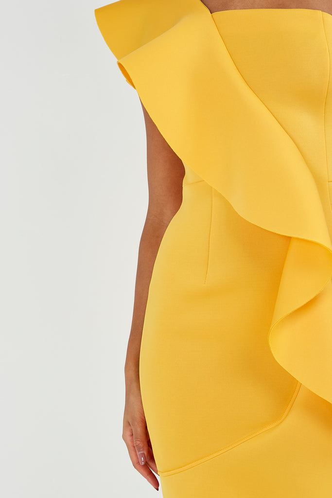 Adena Mustard One Shoulder Ruffle Dress