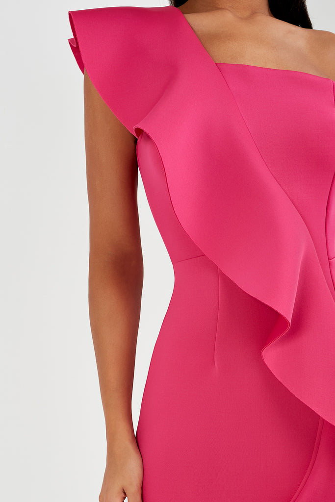 Adena Pink One Shoulder Ruffle Dress