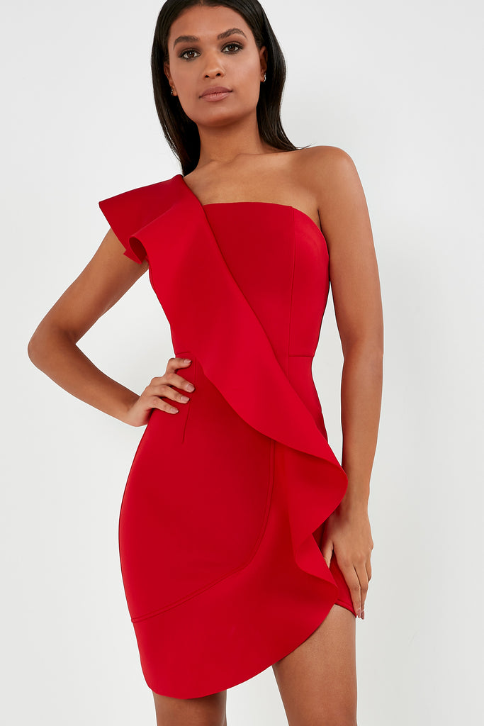 Adena Red One Shoulder Ruffle Dress