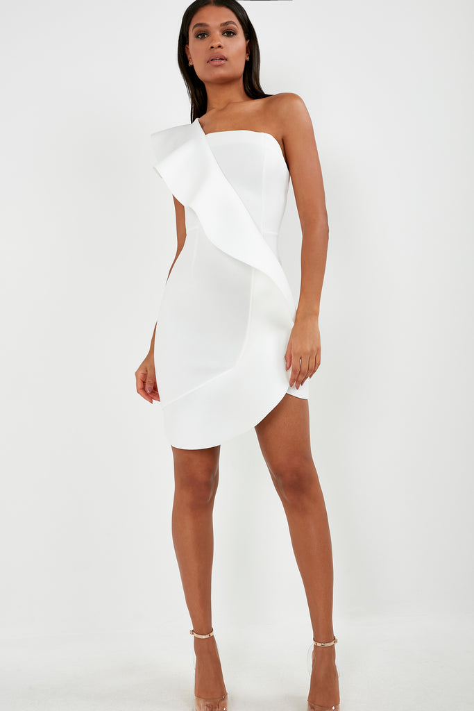 Adena White One Shoulder Ruffle Dress