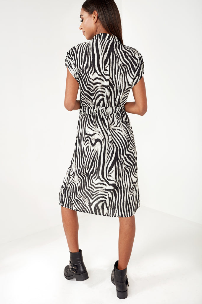 aff876e8f7095 Adora Zebra Print Midi Shirt Dress