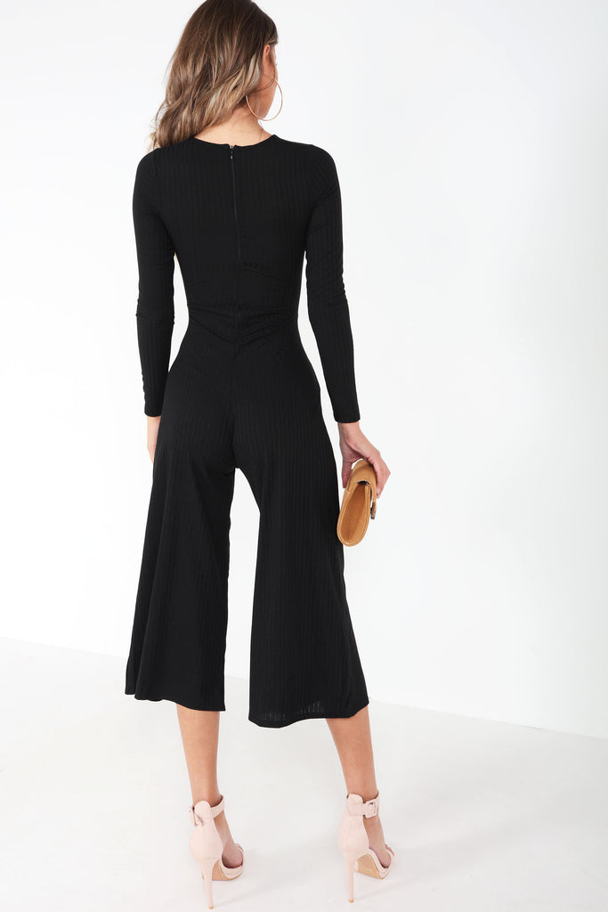 Afton Black Ribbed Twist Front Jumpsuit