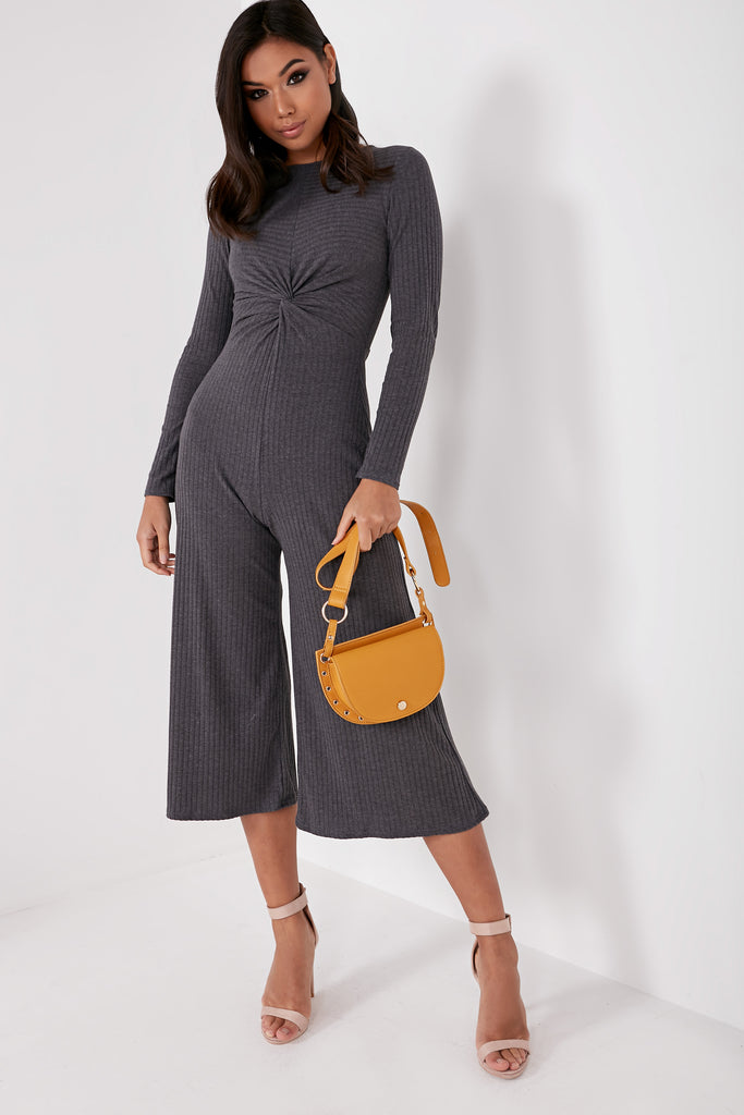 Afton Charcoal Ribbed Twist Front Jumpsuit (1672515846210)