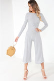 Afton Grey Ribbed Twist Front Jumpsuit