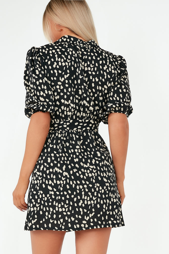 Aggie Black Abstract Print Wrap Tie Dress