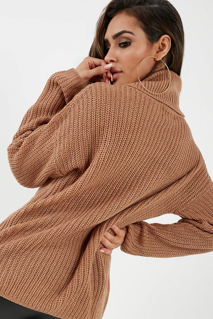 Agnes Camel Roll Neck Knit Jumper (2032919707714)