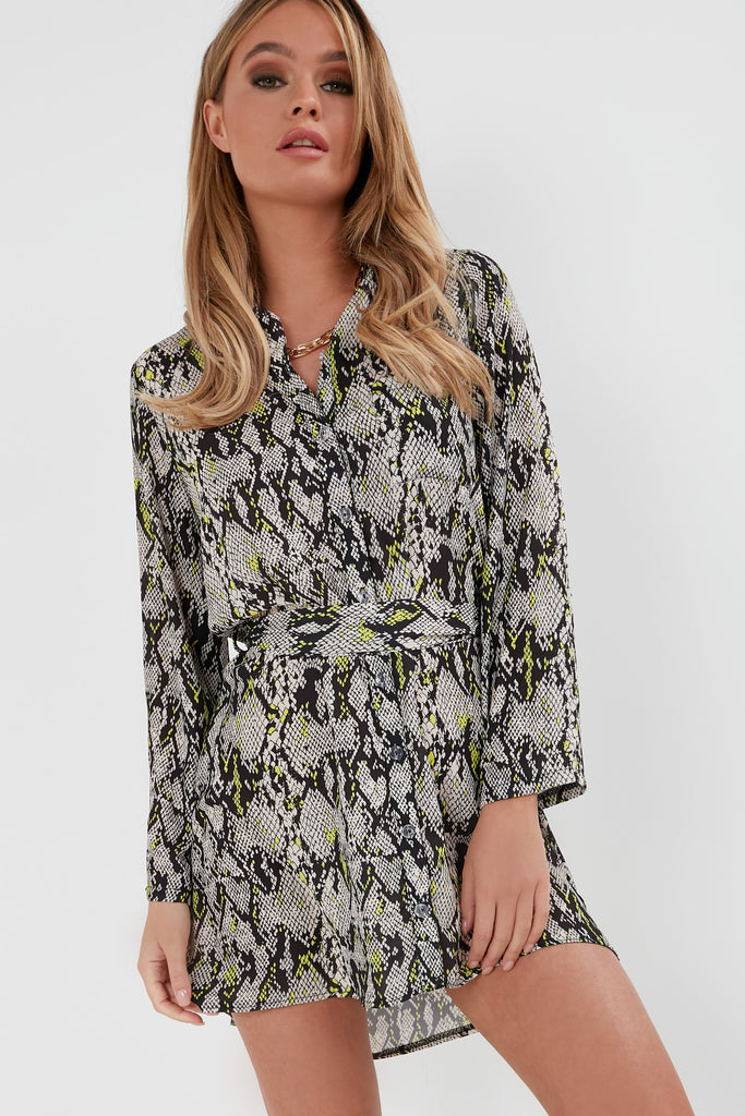 Aifa Neon Green Snake Print Shirt Dress