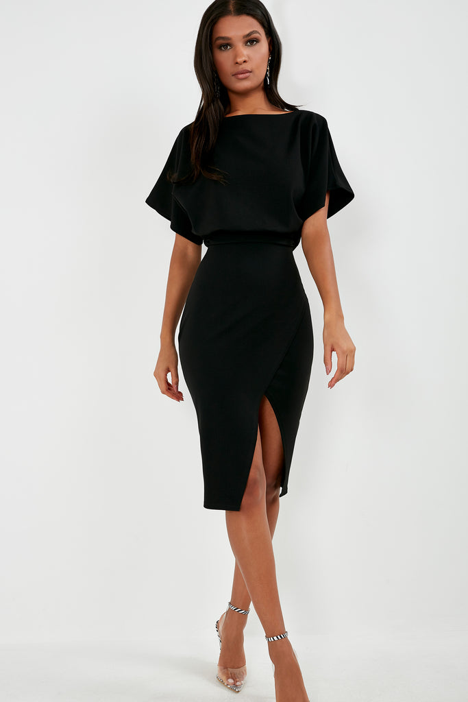 Aimee Black Batwing Midi Pencil Dress
