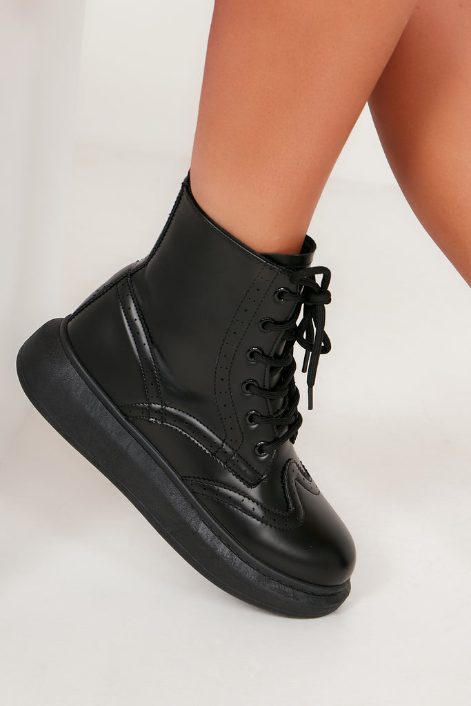 Aimee Black Lace Up Ankle Boot