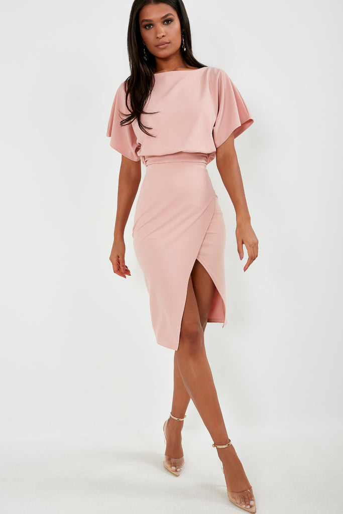 Aimee Pink Batwing Midi Pencil Dress (1819720712258)