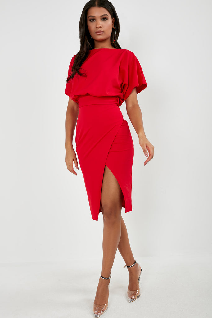 Aimee Red Batwing Midi Pencil Dress (1819730411586)