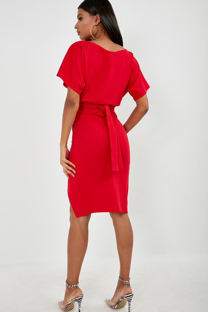 Aimee Red Batwing Midi Pencil Dress