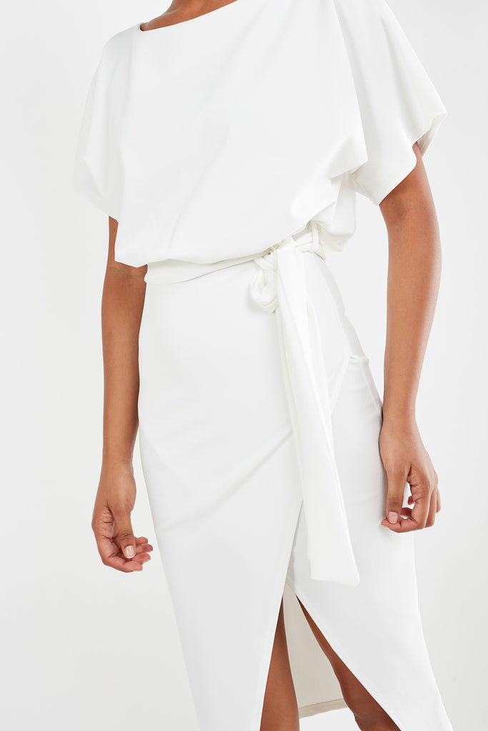 Aimee White Batwing Midi Pencil Dress