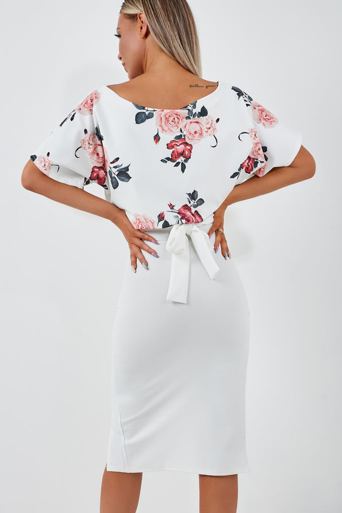Aimee White Rose Print Batwing Dress