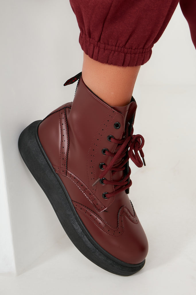 Aimee Wine Lace Up Ankle Boot