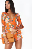 Aine Orange Floral Long Sleeve Playsuit