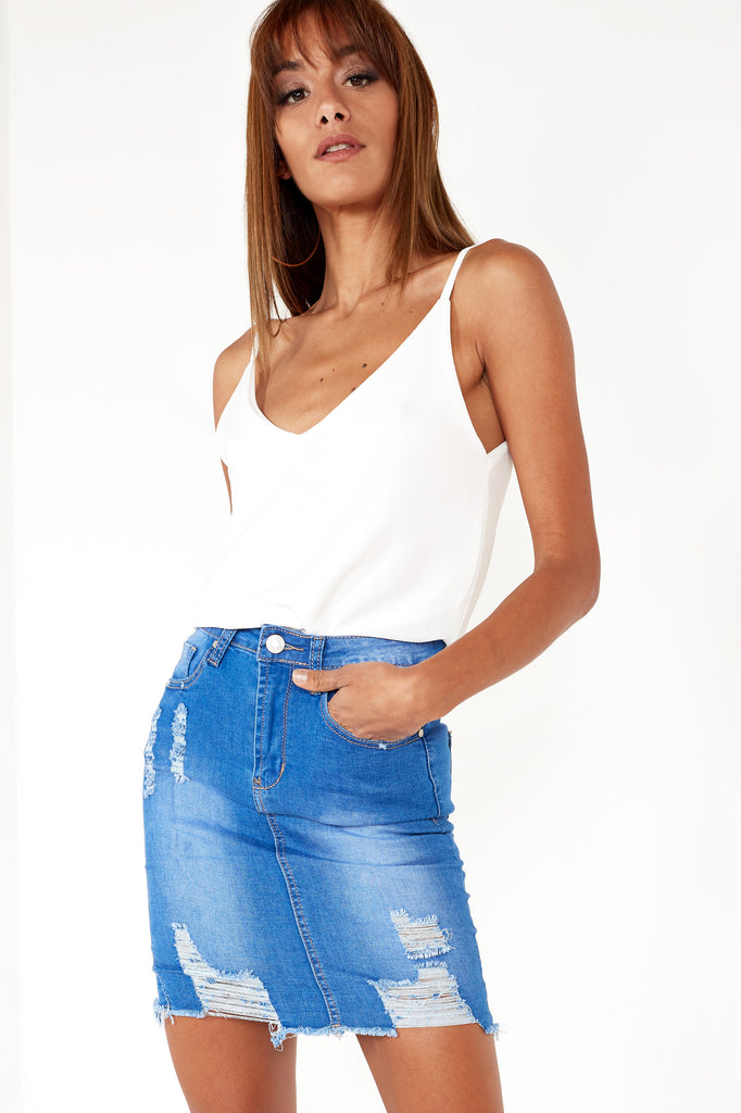 5eb8658a9 Alani Bright Blue Ripped Denim Skirt | Vavavoom.ie