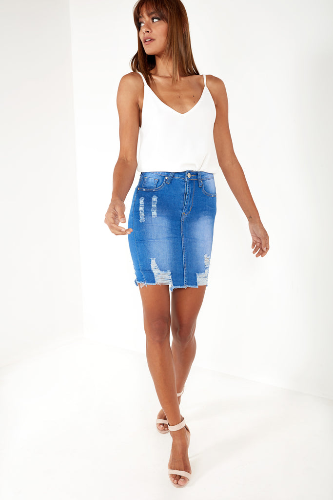 Alani Bright Blue Ripped Denim Skirt (87853465616)