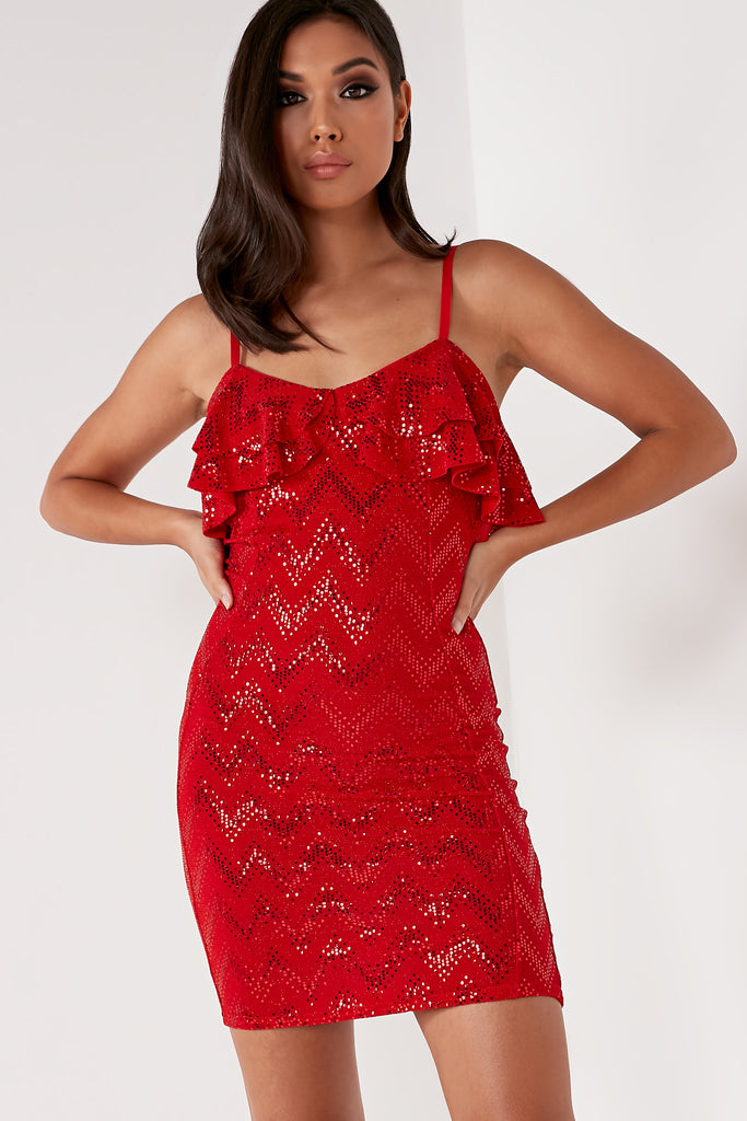 Alex Red Sequin Frill Mini Dress (1668249485378)